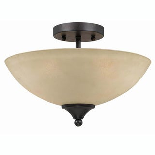 Transitional English Bronze 2-light Semi Flush