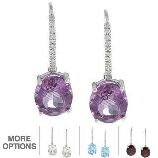 Viducci 10k Gold Gemstone and 1/8ct TDW Diamond Earrings (G-H, I1-I2)