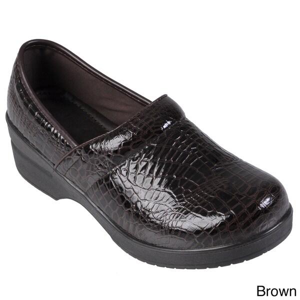 Journee Collection Women's Faux Leather Croc Print Clogs