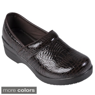 Journee Collection Women's Faux Leather Croc Print Clogs