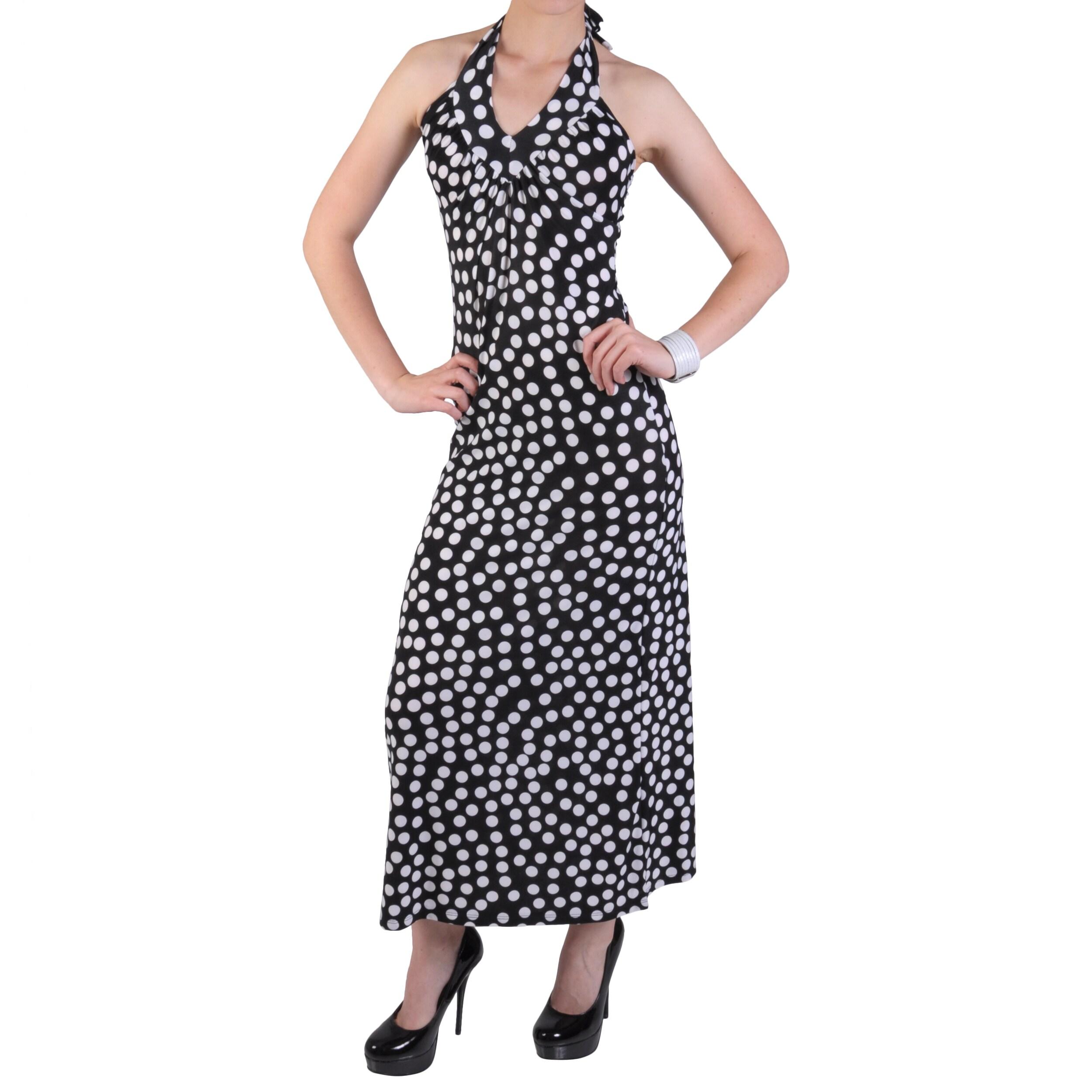 Journee Collection Juniors Polk-a-dot Print Halter Top Maxi Dress