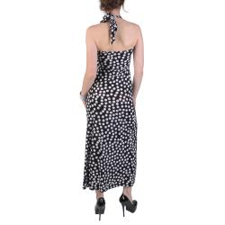 Journee Collection Juniors Polk-a-dot Print Halter Top Maxi Dress