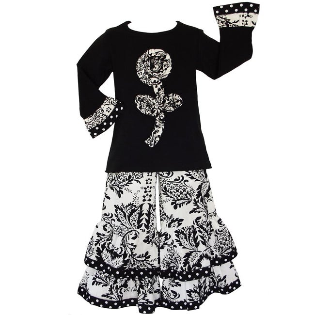 AnnLoren Girls' 2-piece Damask/ Dots Set