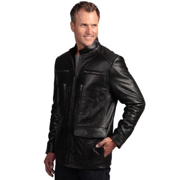 Izod Men's Black Lambskin Leather Zip Jacket