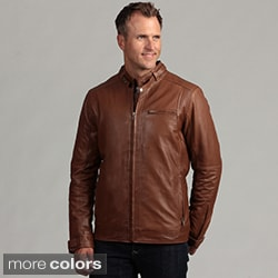 Izod Men's Lambskin Leather Motorcycle Jacket