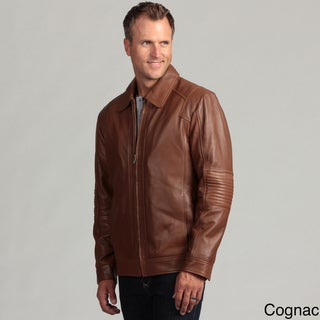 Izod Men's Lambskin Leather Moto Jacket