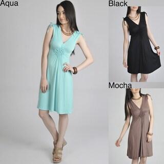 24/7 Comfort Apparel Women's Smocked Diamond Dress