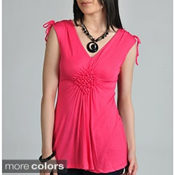 24/7 Comfort Apparel Women's Smocked Diamond Top
