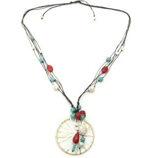 Intricate Golden Enchantment Pendant Turquoise Necklace (Thailand)