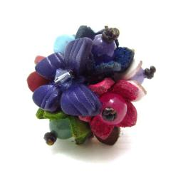 Purple Butterfly Kiss Genuine Leather Cluster Ring (Thailand)