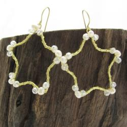 Gold Star Daze Freshwater White Pearl Dangle Earrings (Thailand)