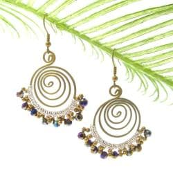 Rainbow Drizzle Crystal Brass Swirl Handmade Earrings (Thailand)