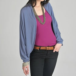 24/7 Comfort Apparel Women's Blue Dolman Sleeve Cardigan