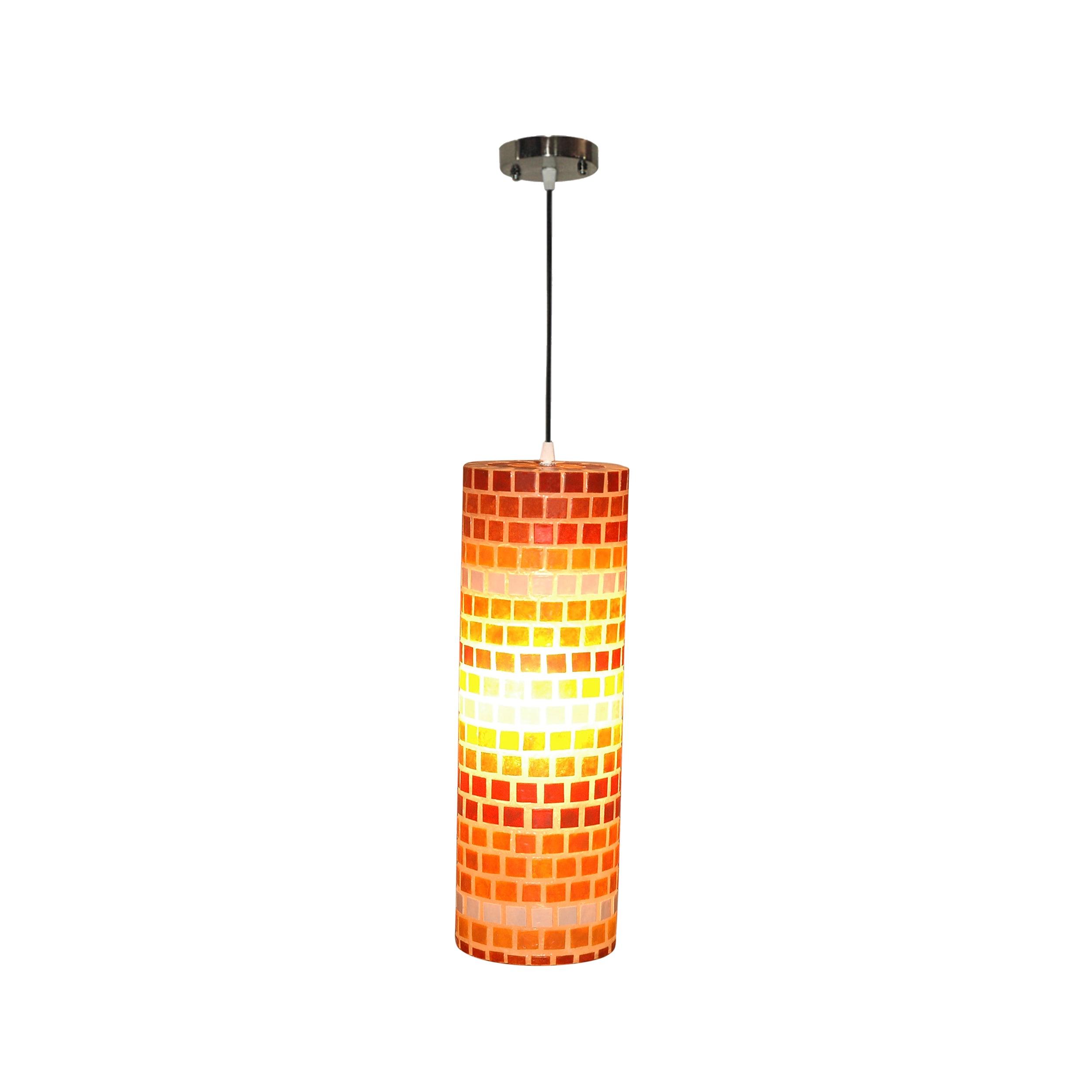 Decorative Orange Contemporary Tuscan Mosaic Hanging Lamp