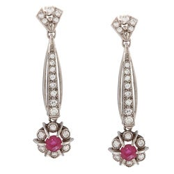 18k White Gold 1 1/2 ct TDW Dangling Ruby Art Deco Earrings (H-I, SI1-SI2)