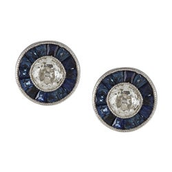 Platinum 1/2ct TDW Sapphire Stud Earrings (I-J, VS1-VS2)