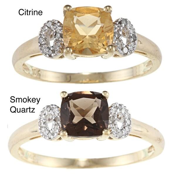 Viducci 10k Gold Gemstone and Diamond Accent Ring