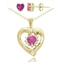 Glitzy Rocks Gold/ Silver Created Pink Sapphire and Diamond Jewelry Set