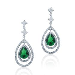 Icz Stonez Silver Created Gemstone and Cubic Zirconia Teardrop Earrings