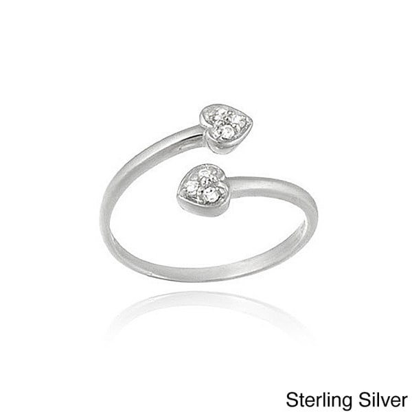 Icz Stonez Sterling Silver Cubic Zirconia Crossover Heart Toe Ring