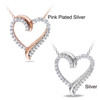 Miadora Silver 3/4ct TGW Created White Sapphire Heart Pendant with Bonus Earrings