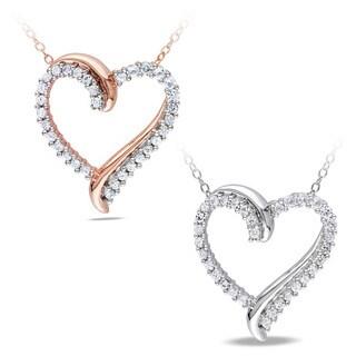M by Miadora Silver 3/4ct TGW Created White Sapphire Heart Pendant