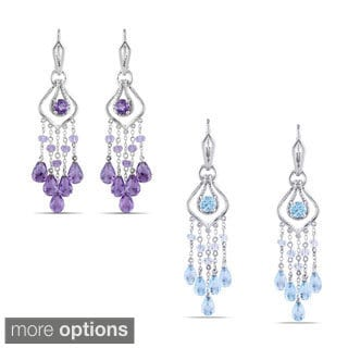 Miadora Sterling Silver 6ct TGW Blue Topaz or Amethyst Drop Earrings