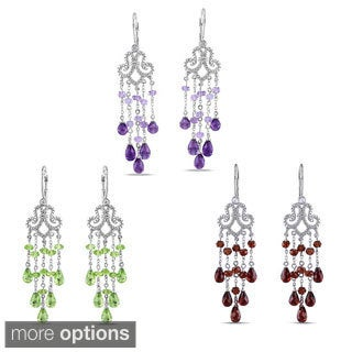Miadora Sterling Silver 9ct TGW Gemstone and 1/10ct TDW Diamond Drop Earrings (H-I, I3)