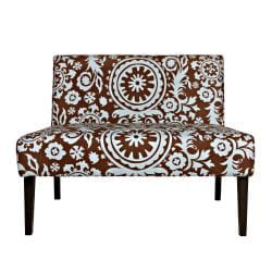 Portfolio Niles Brown/ Blue Floral Medallion Armless Settee