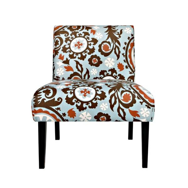 Portfolio Niles Brown/ Blue Floral Medallion Armless Chair