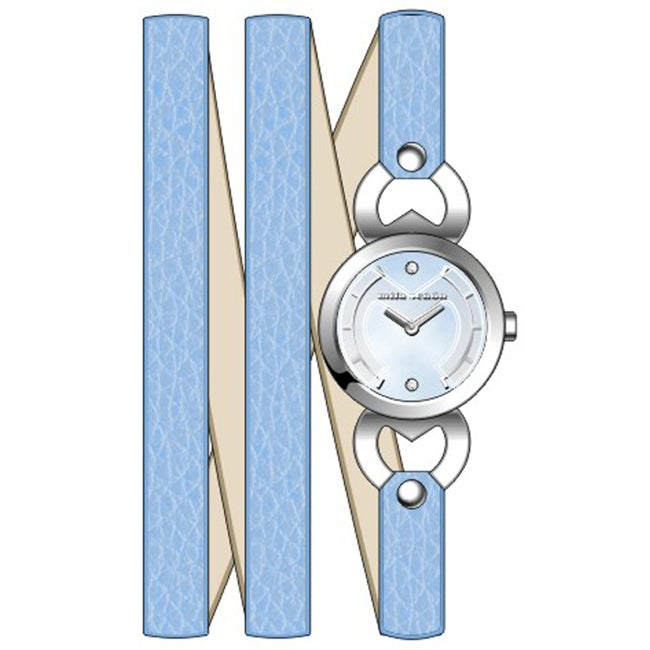 Eziba Collection Mila Schon Children's Blue Mother of Pearl Dial Crystal Leather Quartz Watch at Sears.com