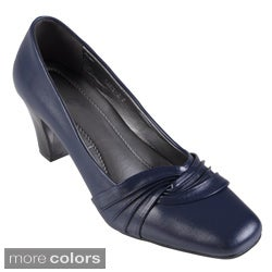 Journee Collection Women's 'CARY-2' Faux Leather Square Toe Pump
