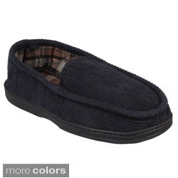 Daxx Men's Lined Corduroy Moccasin Slipper Shoes