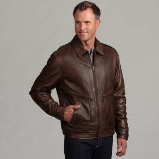 Izod Men's Antique Brown Leather Pilot Jacket