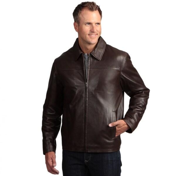 Izod Men's Lambskin Leather Zip-up Jacket
