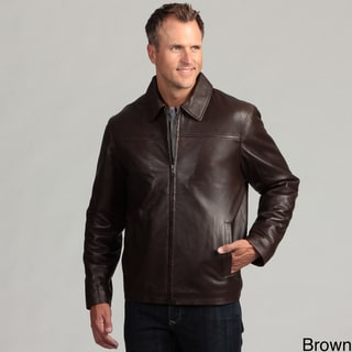 Izod Men's Lambskin Leather Zip-up Jacket