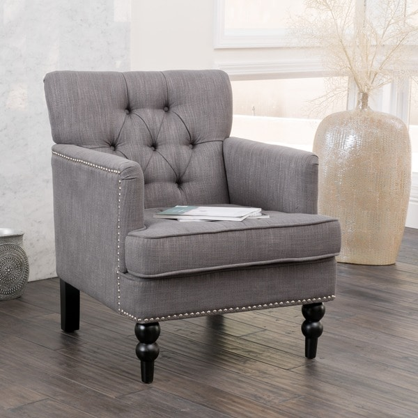 Christopher knight home malone charcoal grey club chair for Sitting room chairs
