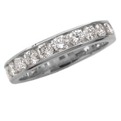 14k White Gold 3/4ct TDW Channel Set Round Diamond Ring