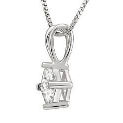 14k White Gold 3/8ct TDW Princess-cut Diamond Solitaire Necklace (I-J, I1-I2)