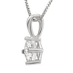 14k White Gold 3/8ct TDW Princess-cut Diamond Solitaire Necklace (I-J, I1-I2)