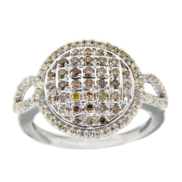 10k White Gold 3/4ct TDW Brown Diamond Fashion Ring (Size 7)