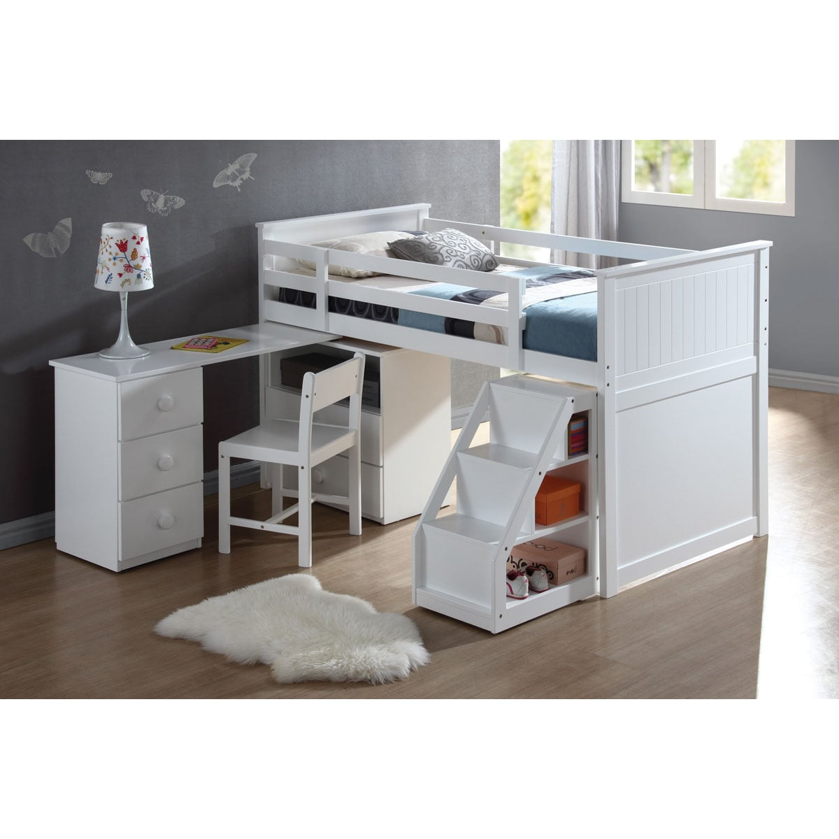 Wyatt White Finish Twin Loft Bed 14341966 Overstock