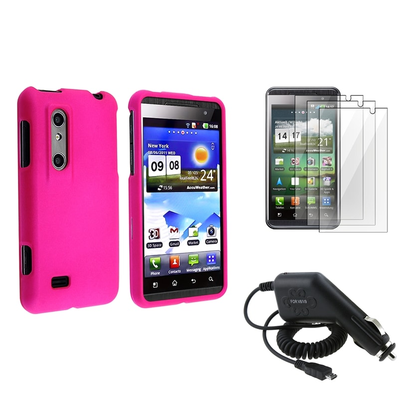 Pink Rubber Coated Case/ LCD Protector/ Charger for LG P920 Thrill 4G