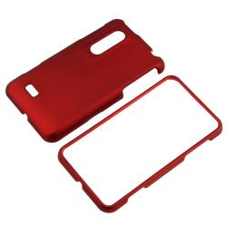 Red Rubber Coated Case/ LCD Protector/ Charger for LG P920 Thrill 4G