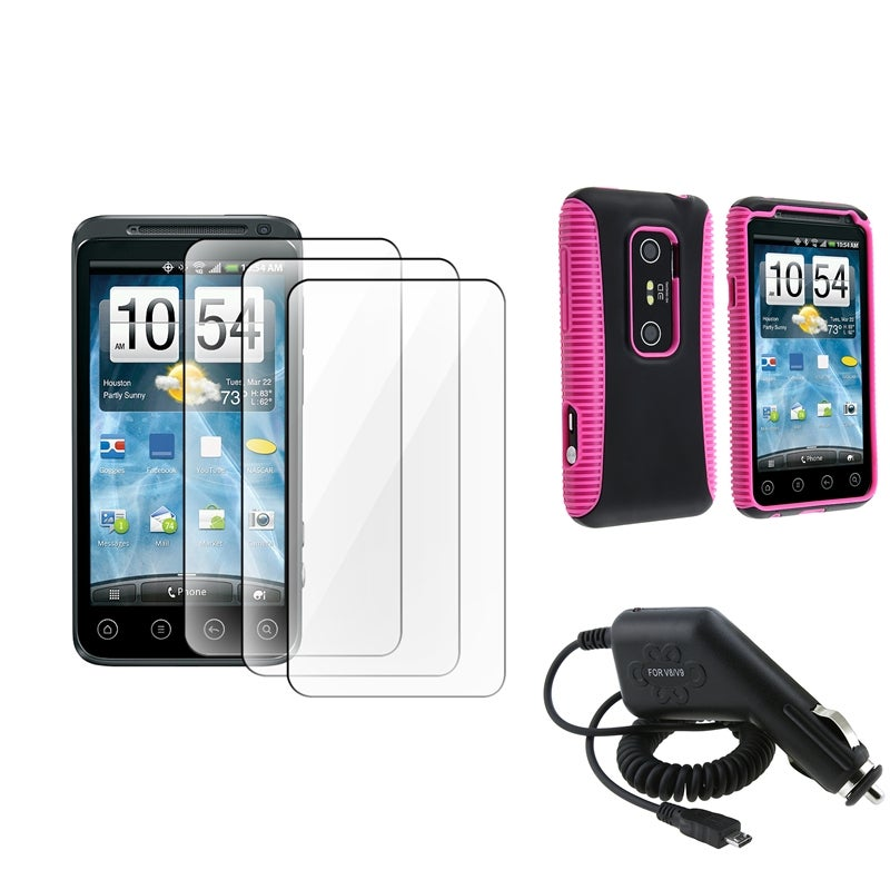 INSTEN Pink/ Black Hybrid Case Cover/ LCD Protectors/ Car Charger for HTC EVO 3D