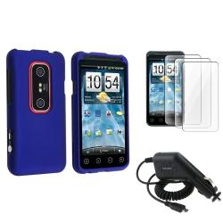 Dark Blue Rubber Coated Case/ LCD Protectors/ Charger for HTC EVO 3D