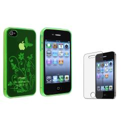 Green Flower TPU Case/Anti-Glare LCD Protector Bundle for Apple iPhone 4/4S
