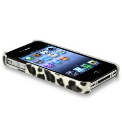 Grey Leopard Case/ Yellow Headset Dust Cap for Apple iPhone 4/ 4S