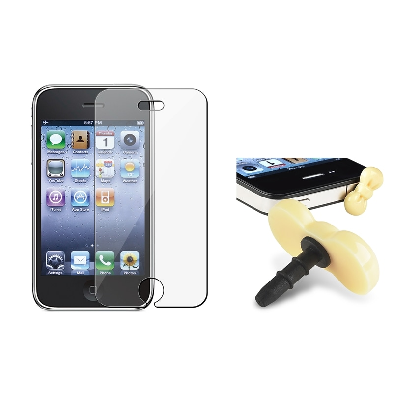 INSTEN LCD Protector/ Yellow Ribbon Headset Dust Cap for Apple iPhone 3G/ 3GS