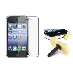 LCD Protector/ Yellow Ribbon Headset Dust Cap for Apple iPhone 3G/ 3GS